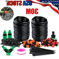100ft 30M Auto Drip Irrigation System Kit Timer Micro Sprink