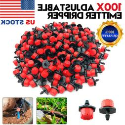 100Pc Adjustable Emitter Dripper Micro Drip Irrigation Sprin