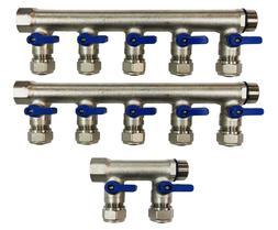 "12 Loop Plumbing Manifold w/ 3/4"" trunk & 1/2"" pex ball valv"