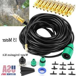 15m/49ft Self Garden Plant Micro Drip Water Irrigation Syste