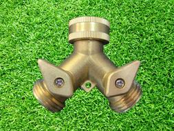 """3/4"""" Solid Brass Double Two Way Tap Garden Connector Adaptor"""