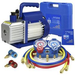 3 Valve Manifold Dual Gauge R134A R410A R22 A/C HVAC w/ 4CFM