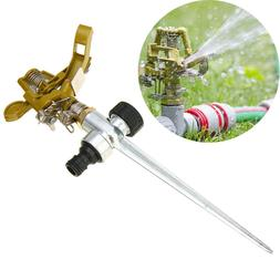 US ! 360 ° Rotating Metal Garden Lawn Spiked Impulse Water