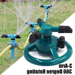 360°Garden Lawn Rotating Sprinkler 3-Arm Outdoor Irrigation