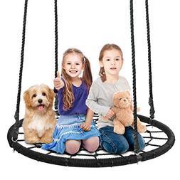 SUPER DEAL 40'' Spider Web Tree Swing Net Swing Platform Rop