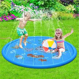 66 Inch Splash Play Mat Outdoor Water Sprinklers Summer Fun