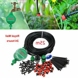 82ft Automatic Drip Irrigation System Kit Timer Micro Sprink