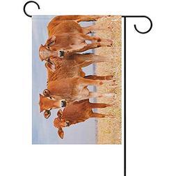 Vioceff Garden Flag Brown Calves On Pasture Valentine's Day