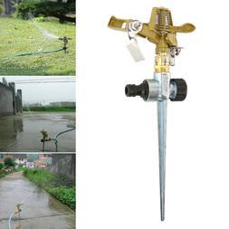 Garden Metal Spike Lawn Grass Hose 360 Degree Water Impulse