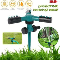 Garden Sprinkler 3 Arms 360 Rotating Lawn Watering Spray Irr