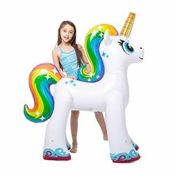 giant inflatable unicorn sprinkler outdoor yard water
