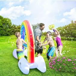 Inflatable Rainbow Yard Water Sprinkler Fun Toy Connect Gard