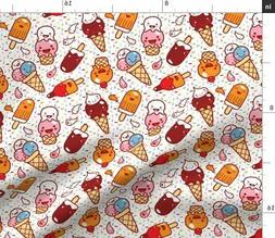 Kawaii Ice Cream Kawaii Sprinkles And Ice Fabric Printed by