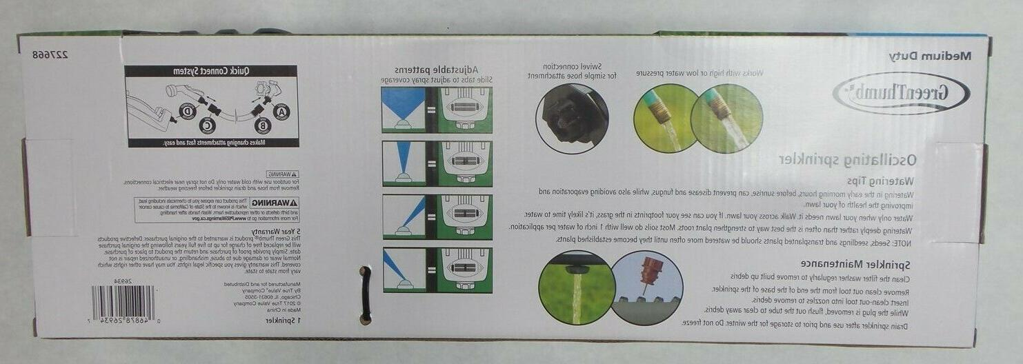 Green Oscillating Sprinkler 3,600 Coverage Poly with
