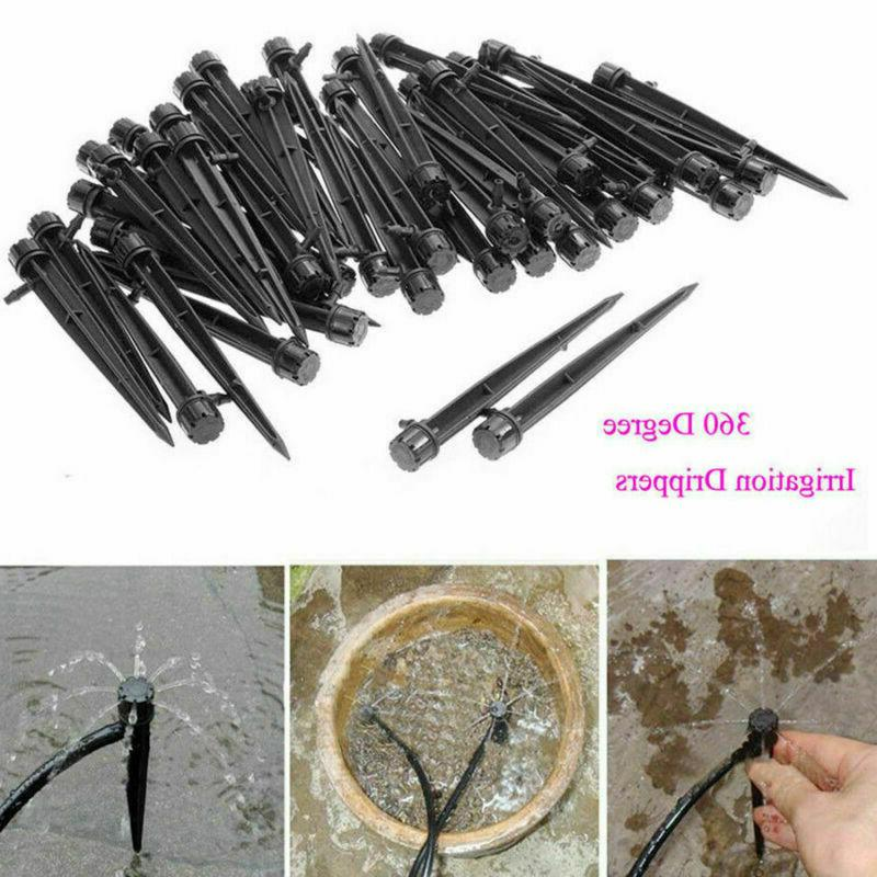 50Pcs Water Irrigation Drippers Stake Emitter Drip US