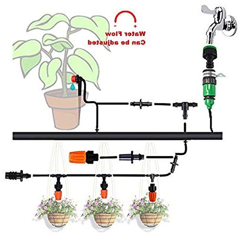 HANSILK Adjustable Automatic Micro Irrigation Kit Saving and Time 1/4-inch Blank Distribution Plant Self Hose 2 Sprinkler Types
