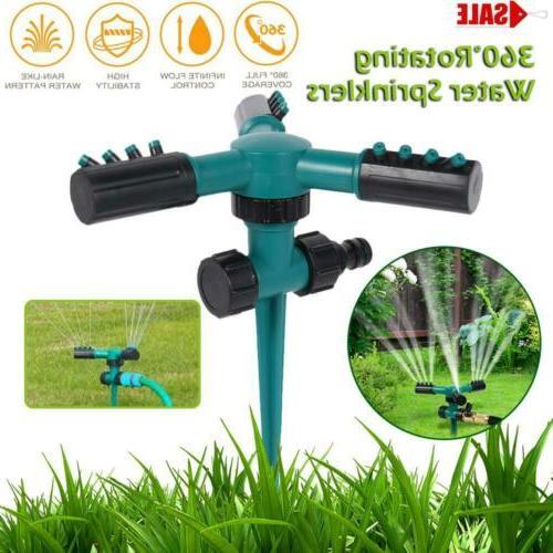 garden sprinkler 3 arms 360 rotating lawn