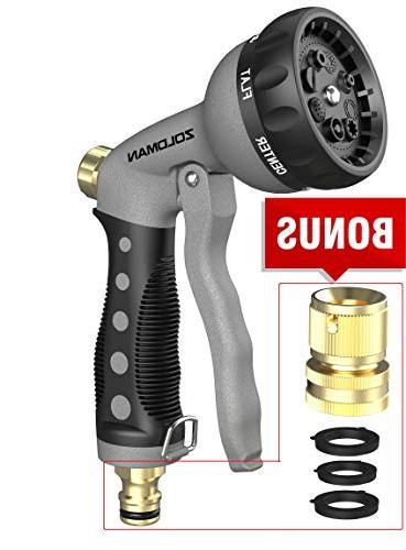 Heavy Garden Hose Nozzle/ hand sprayer, water nozzle, Adjustable Patterns, Slip Shock Robust Reliable for garden, Car Washing,