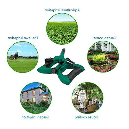 Lawn Sprinkler, Automatic Rotating Water Sprinklers Covering Area with 3 Arm Easy Hose