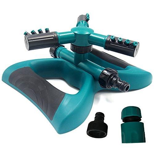 Lawn Rotating Adjustable Sprinklers Lawn Irrigation Covering Leak Free 3 Arm Sprayer, Hose