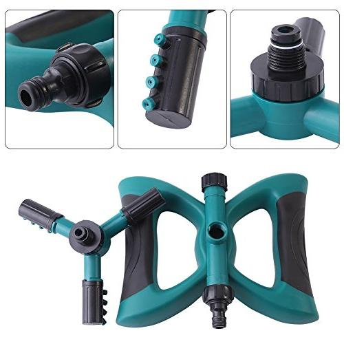 Lawn Automatic Rotating Sprinklers Lawn Covering Area Leak Free Design Durable 3 Sprayer, Hose