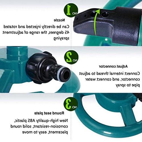 Lawn Sprinkler, WensLTD Automatic 360 Rotating Adjustable Water Sprinklers System