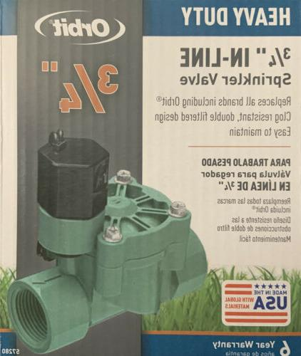 "Orbit In-Line Sprinkler Valve 24 V 3/4 "" Boxed Pack 1"