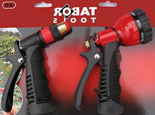 TABOR Garden Hose Nozzle Set, Pressure Water Nozzle 7-Pattern Adjustable Shower Control Heavy Duty Long Materials