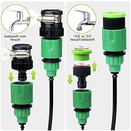 moistenland Patio Plant Kit,50ft Tubing Drip Irrigation System, Cooling &Containers