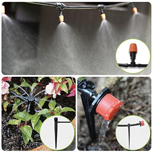 moistenland Patio Kit,50ft Drip Irrigation Cooling System with Nozzle Sprinkler for &Containers