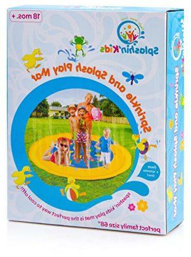 """Splashin'kids 68"""" Splash Mat is for toddlers,boys, girls - perfect inflatable sprinkler"""