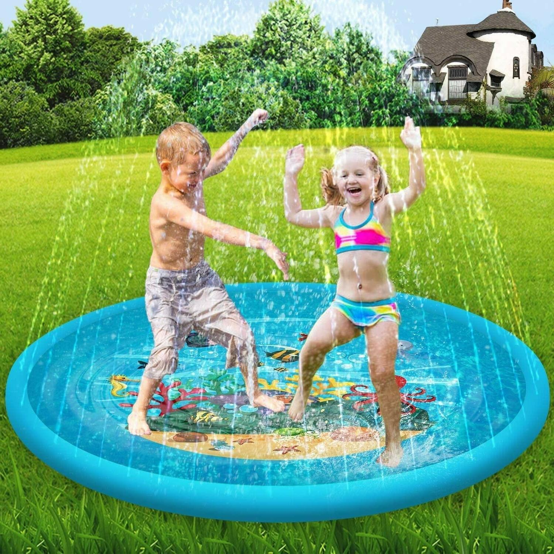 Sprinkler Splash Pad Mat Round Water Play For Kids Yard Infl