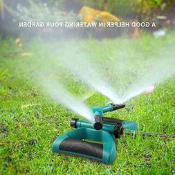 Lawn Sprinkler, Automatic 360 Rotating Adjustable Garden Wat