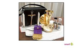 Mass Kit Includes: Chalice, Paten, Pyx, Crucifix, 2 Glass Bo