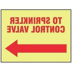 ACCUFORM MLFX525GP Fire Sprinkler Control Valve Sign,R/YEL