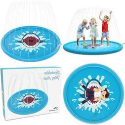 "Outdoor Water Play Sprinkler Pad Splash Play Mat 68"" Fun Toy"