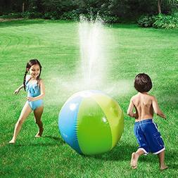 """Fstop Labs Rainbow Inflatable 30"""" Beach Ball Sprinkler Rain"""