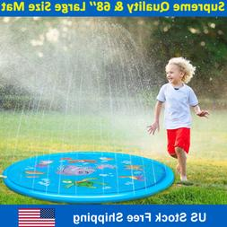 "Splash Play Mat Sprinkler for Kids 68"" Inflatable Outdoor Wa"