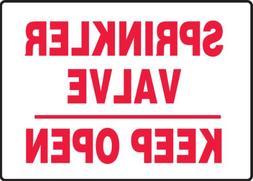 Sprinkler Valve Keep Open 10X14 .125 Polycarbonate Sign